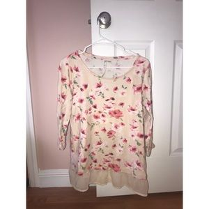 Floral sweater with cream trim